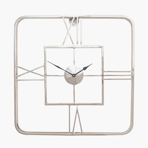 Silver Metal Square Wall Clock