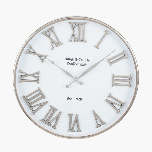 Silver and White Metal Round Wall Clock
