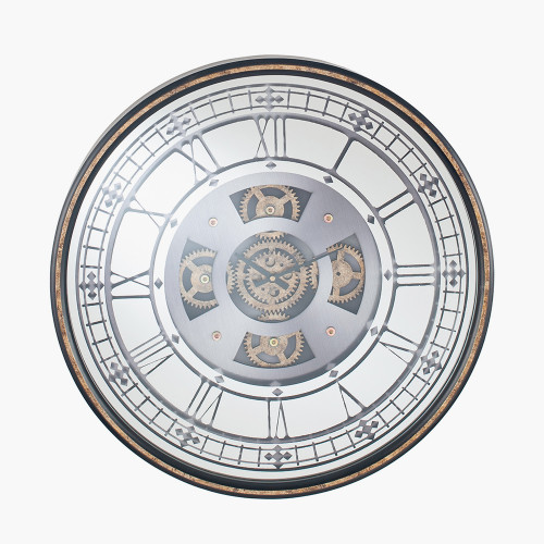 Gold Wood Frame and Mirrored Round Cog Wall Clock