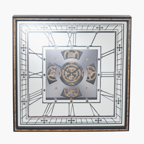Gold Wood Frame and Mirrored Square Cog Wall Clock