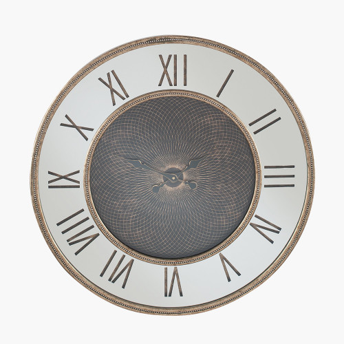 Gold Wood Frame and Mirror Geo Print Wall Clock