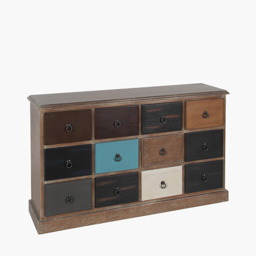 Pine Wood Multicoloured 12 Drawer Unit