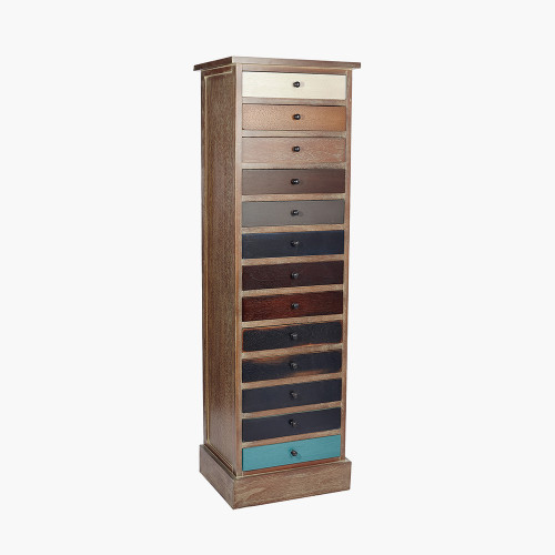 Pine Wood Multicoloured 13 Drawer Unit