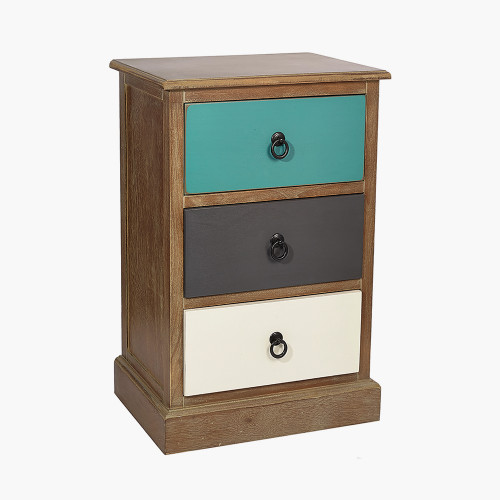 Pine Wood Multicoloured 3 Drawer Unit