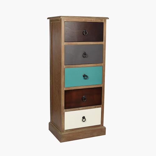 Pine Wood Multicoloured 5 Drawer Unit