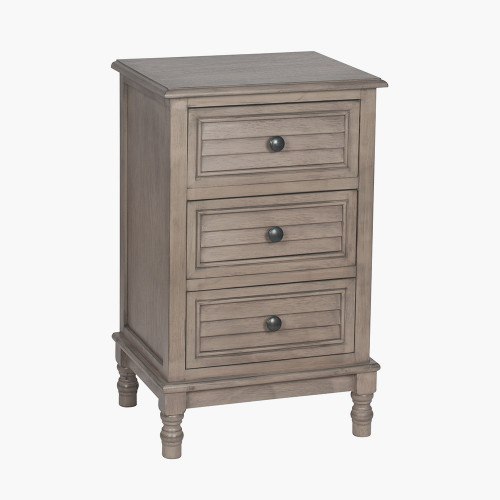 Taupe Pine Wood 3 Drawer Unit K/D