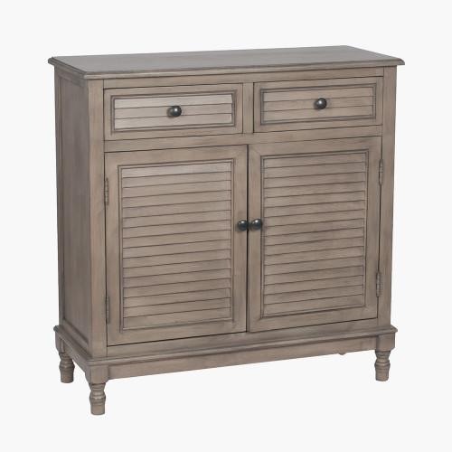 Taupe Pine Wood 2 Drawer 2 Door Unit K/D