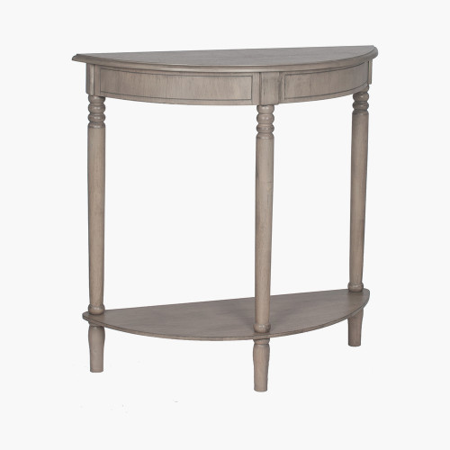 Taupe Pine Wood Half Moon Console Table K/D