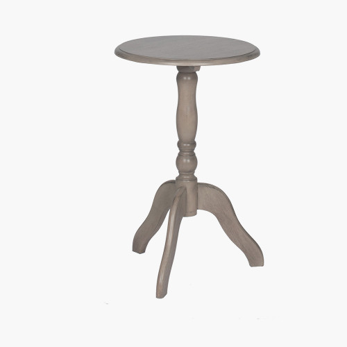 Taupe Pine Wood Round Pedestal Table K/D