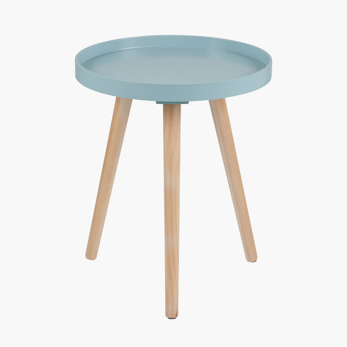 Aqua MDF & Natural Pine Wood Round Table K/D