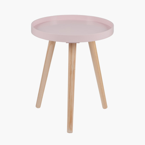 Pink MDF & Natural Pine Wood Round Table K/D