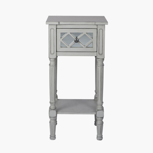 Dove Grey Mirrored Pine Wood Accent Table K/D