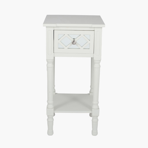 Ivory Mirrored Pine Wood Accent Table K/D