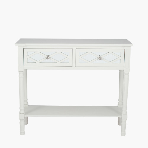 Ivory Mirrored Pine Wood Console Table K/D