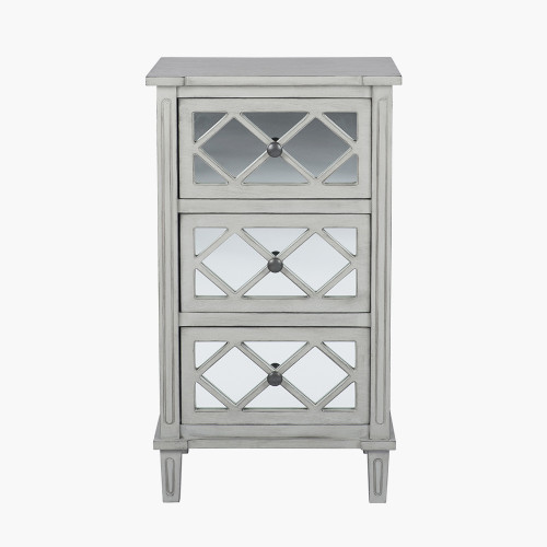 Dove Grey Mirrored Pine Wood 3 Drawer Unit