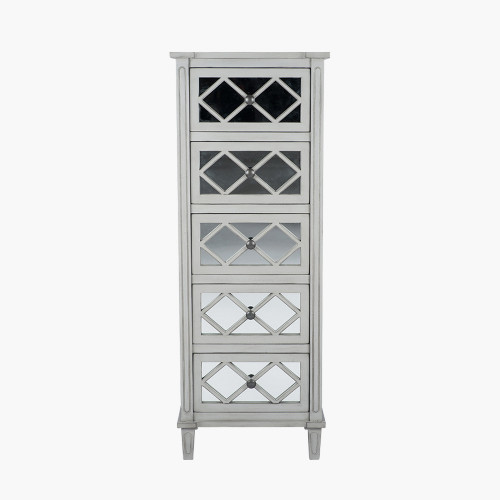 Dove Grey Mirrored Pine Wood 5 Drawer Tall Boy