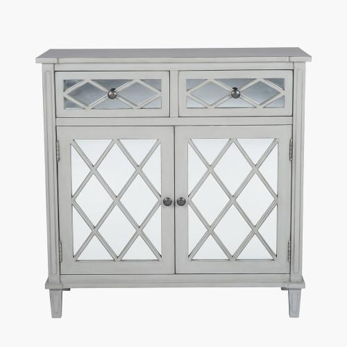 Dove Grey Mirrored Pine Wood 2 Drawer 2 Door Unit