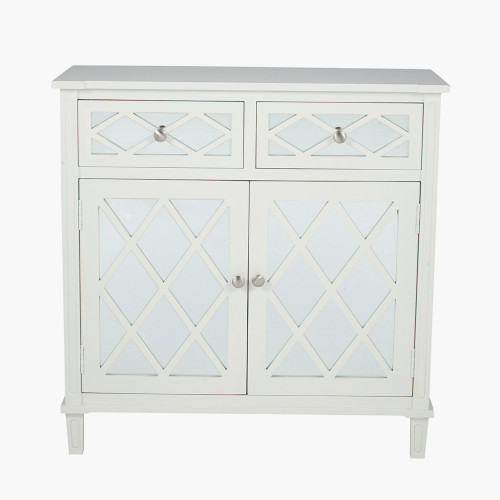 Ivory Mirrored Pine Wood 2 Drawer 2 Door Unit