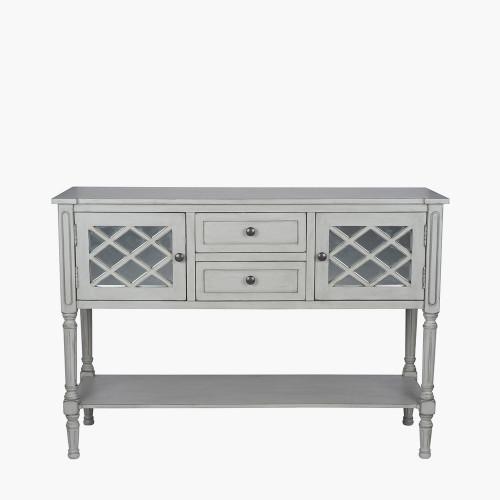 Dove Grey Mirrored Pine Wood Dresser K/D