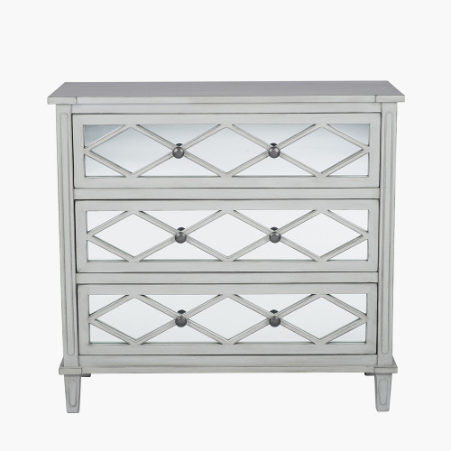 Dove Grey Mirrored Pine Wood 3 Drawer Wide Unit