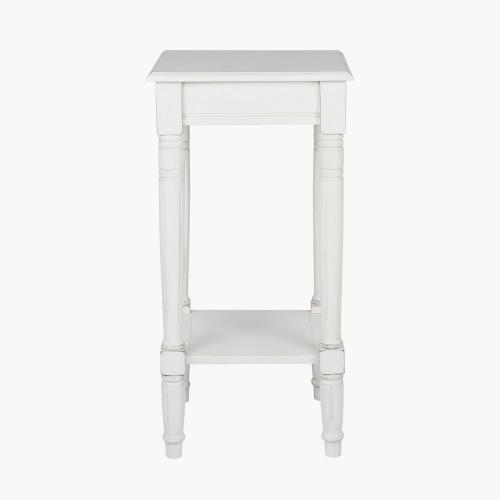 Elizabeth White Pine Wood Square Accent Table K/D