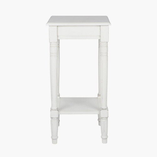 Elizabeth White Pine Wood Square Accent Table K/D