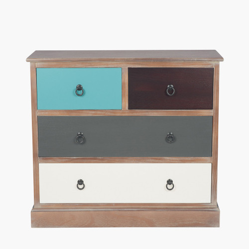Pine Wood Multicoloured 4 Drawer Unit