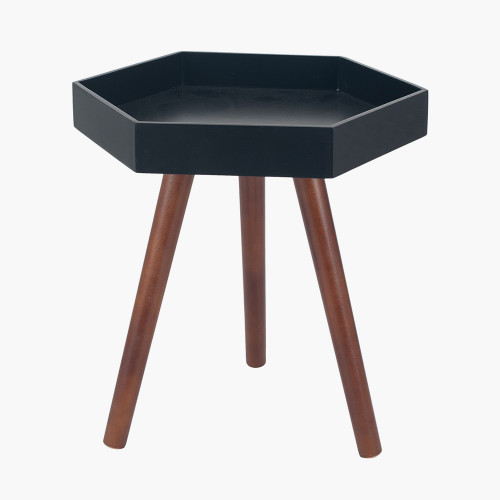 Black MDF & Brown Pine Wood Hexagon Table K/D