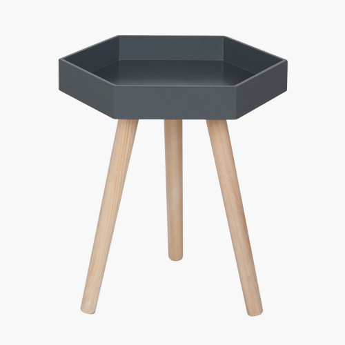 Grey MDF & Natural Pine Wood Hexagon Table K/D