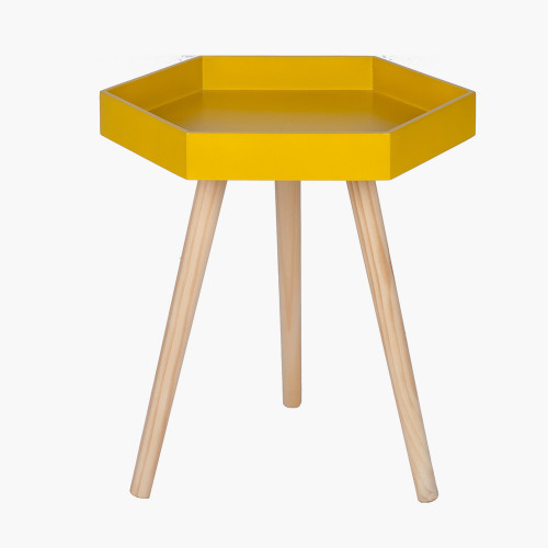 Mustard MDF & Natural Pine Wood Hexagon Table K/D
