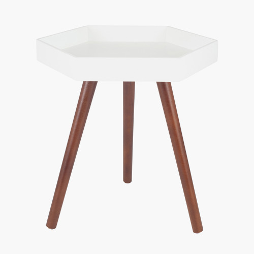 White MDF & Brown Pine Wood Hexagon Table K/D