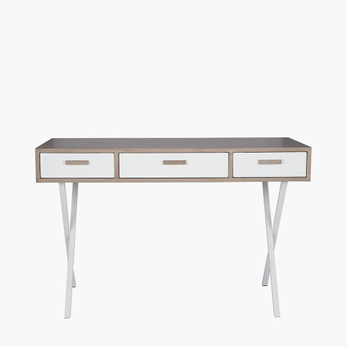 Natural & White Wood Veneer 3 Drawer Desk K/D