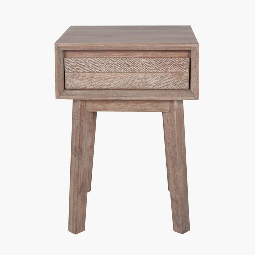Sand Wash Acacia Wood 1 Drawer Bedside Unit