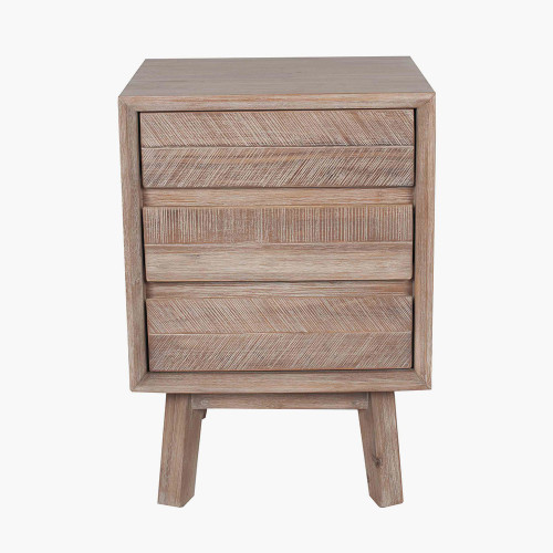 Sand Wash Acacia Wood 3 Drawer Bedside Unit