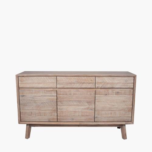 Sand Wash Acacia Wood 3 Drawer 3 Door Sideboard