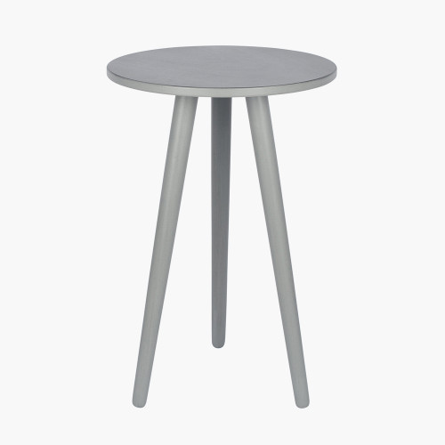 Vendee Grey Pine Wood Round Side Table K/D