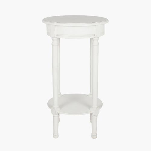 Elizabeth White Pine Wood Round Accent Table K/D