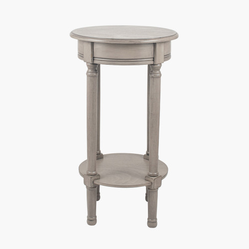 Taupe Pine Wood Round Accent Table K/D