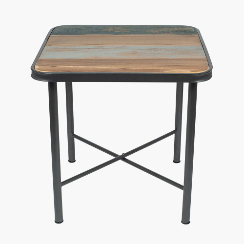 Black Metal & Multi Coloured Wood Square Table K/D