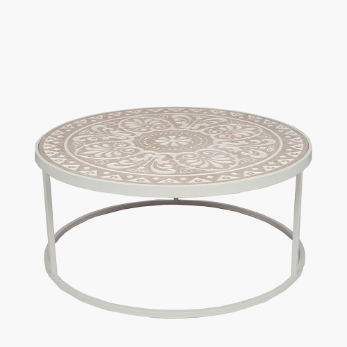 Antique White & Cream Wood & Iron Coffee Table