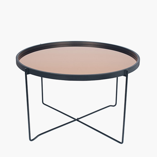 Matt Black Wood & Metal Coffee Table Copper Glass