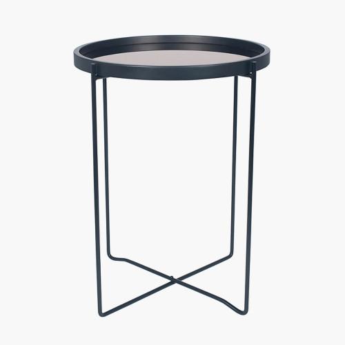 Matt Black Wood & Metal Side Table Copper Glass