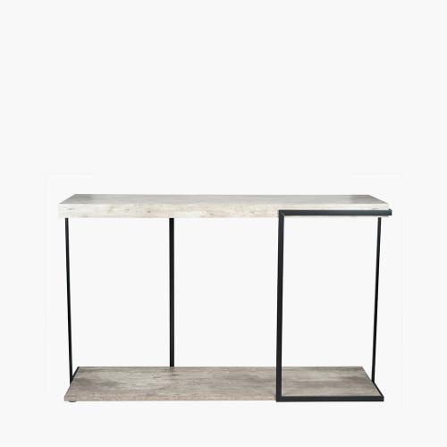 Concrete Effect MDF & Black Iron Console Table K/D