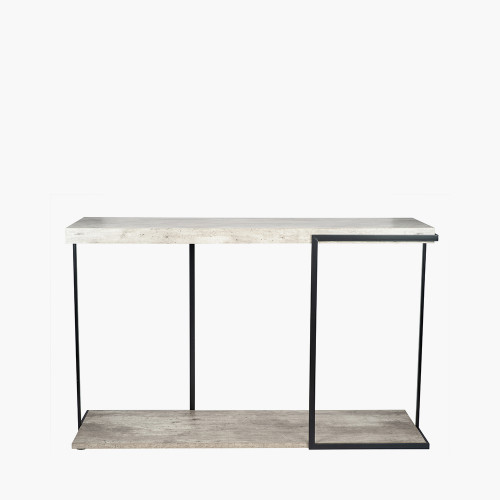 Concrete Effect MDF & Black Iron Console Table K/D