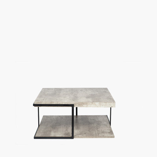 Concrete Effect MDF & Black Iron Coffee Table