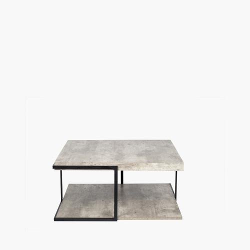 Concrete Effect MDF & Black Iron Coffee Table