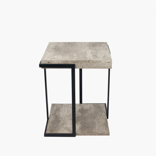 Concrete Effect MDF & Black Iron Side Table K/D