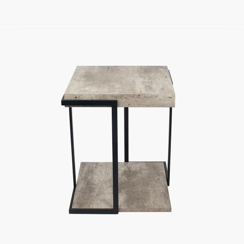 Concrete Effect MDF & Black Iron Side Table K/D