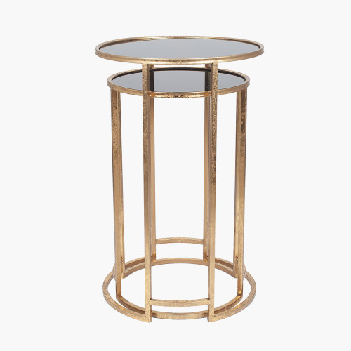 Antique Gold Metal & Black Glass S/2 Round Tables