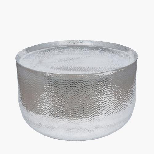 Hammered & Polished Aluminium Round Table Large